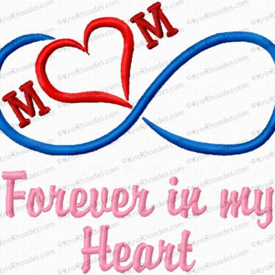 Mom Infinity Heart Embroidery Design