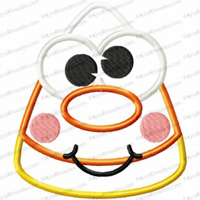 Candy Corn Face Applique Embroidery Design
