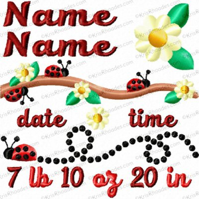 4x4 Ladybug Birth Announcement Template Embroidery Design