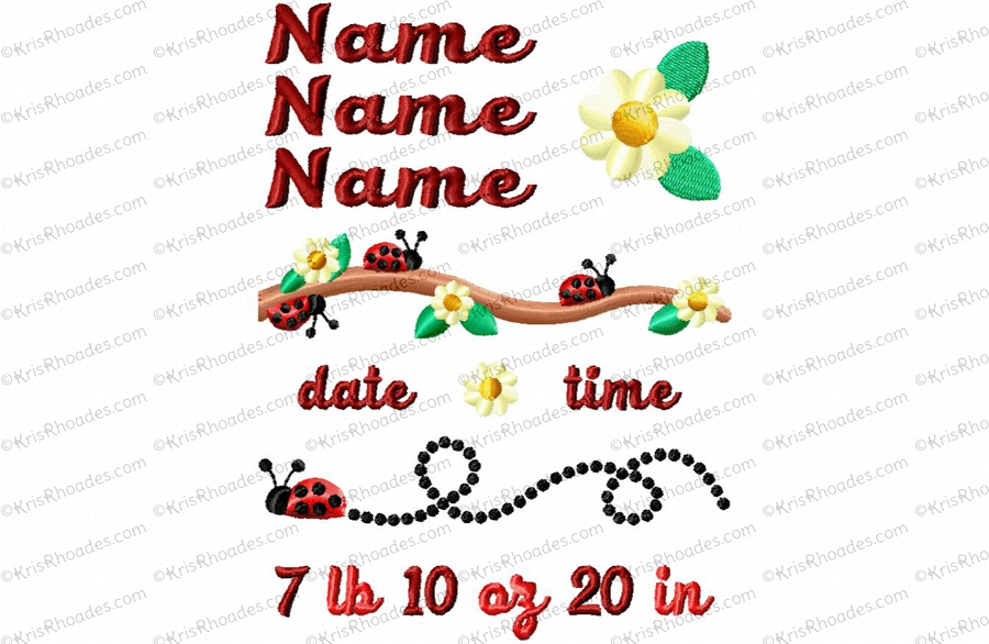 5x7 ladybug birth announcement template embroidery design kris rhoades
