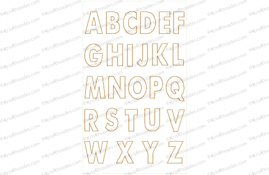 Feltie Alphabet Outline Embroidery Design Kris Rhoades