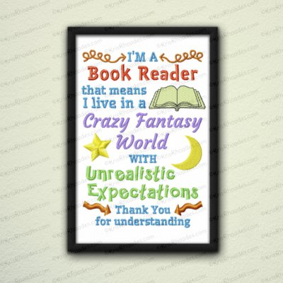 Book Reader Embroidery Design