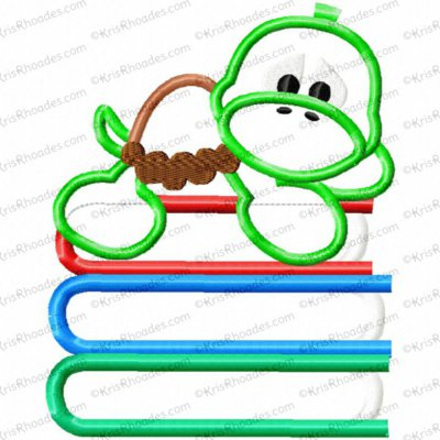 Turtle on Books Applique Embroidery Design