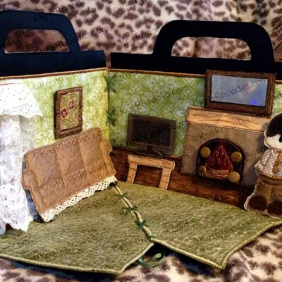 Quiet Book Dollhouse - 6x10 Living Room Embroidery Design
