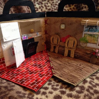 Quiet Book Dollhouse - 6x10 Kitchen Embroidery Design