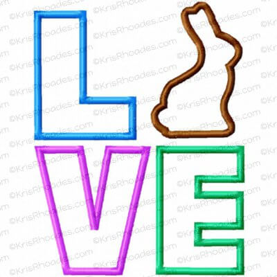 LOVE stacked with Chocolate Bunny Applique Embroidery Design