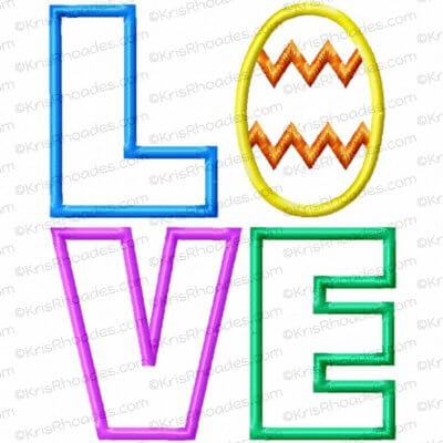 LOVE stacked with Easter Egg Applique Embroidery Design