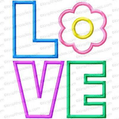 LOVE stacked with Flower Applique Embroidery Design