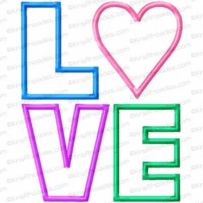 LOVE stacked with Heart Applique Embroidery Design