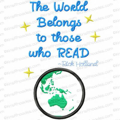 The World Belongs to Those Who Read - Australia Applique Embroidery Design