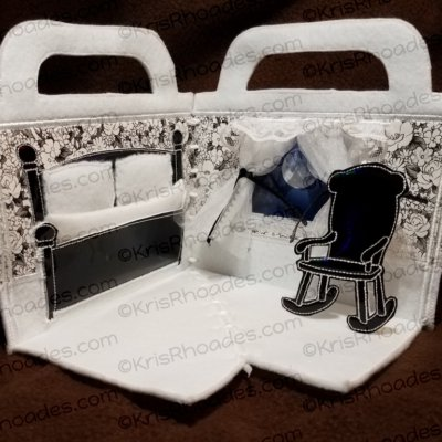 Quiet Book Dollhouse - 5x7 Bedroom C Embroidery Design