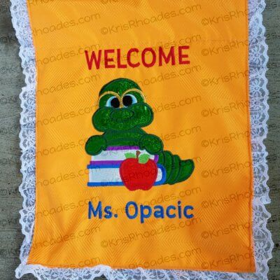 Welcome Banner with Bookworm Embroidery Design