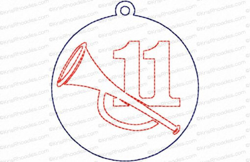 12 Days of Christmas Quilt Block #11 Embroidery Design
