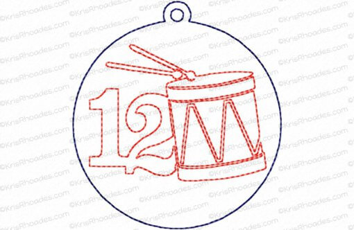 12 Days of Christmas Quilt Block #12 Embroidery Design