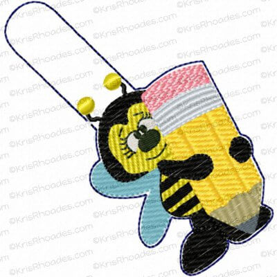 School Bee with Pencil Applique Embroidery Design