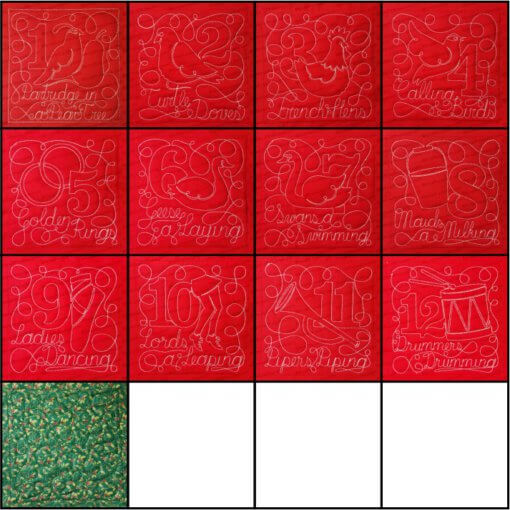 12 Days of Christmas Quilt Blocks Bundle Embroidery Design