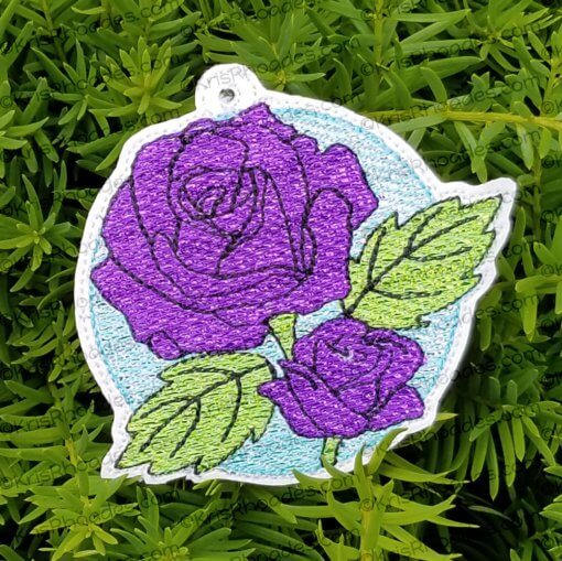 circle floral rose mylar ornament