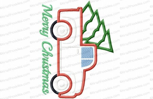 rhoades_vintage red pickup with tree 7x5 applique