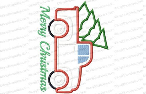 rhoades_vintage red pickup with tree 8x6 applique
