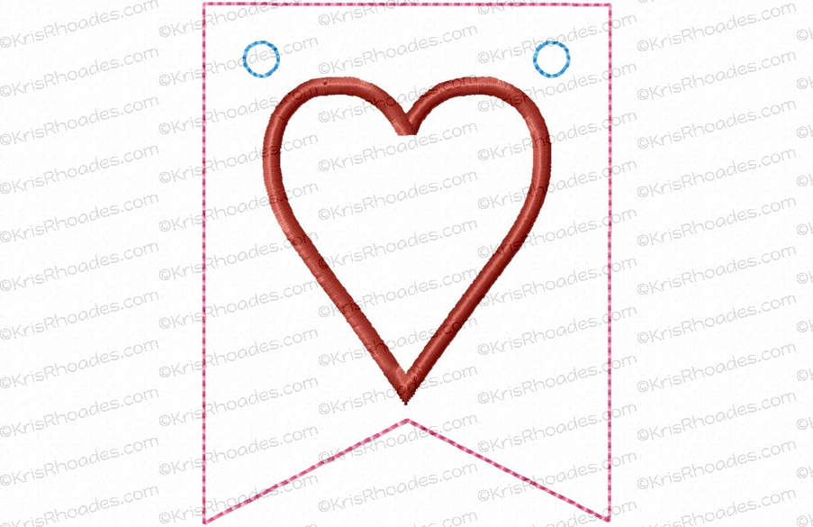 Pennant banner with heart flag applique embroidery design includes