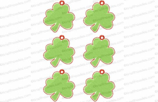 rhoades_shamrock charm 2 inch with hole 6 up on 5x7