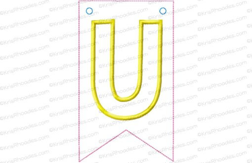 Pennant banner with letter u flag applique embroidery design