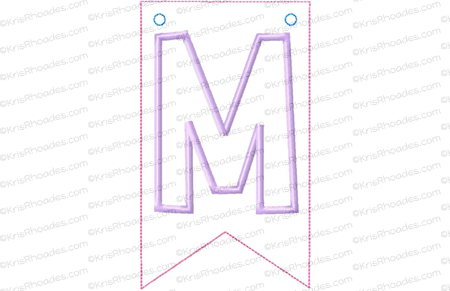 Pennant banner with letter m flag applique embroidery design