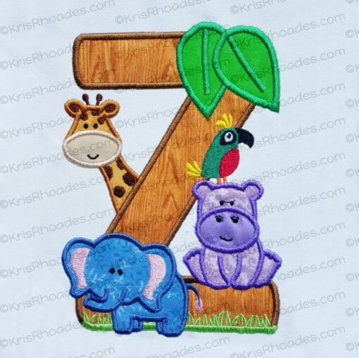 kris-jungle safari zoo letter Z 5x7