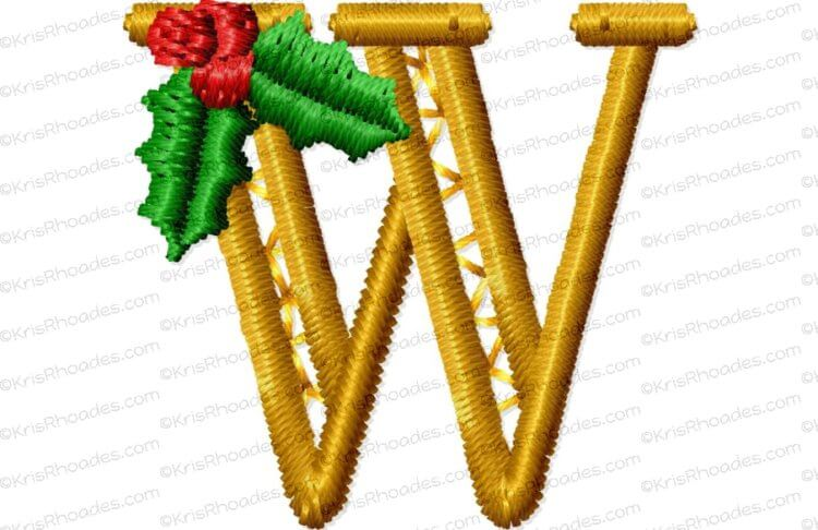 Mistletoe Letter W Embroidery Design, 6 sizes from 1 to